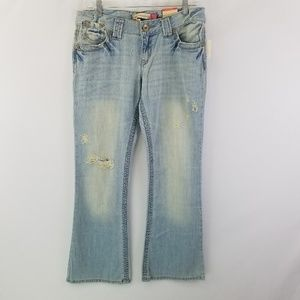 Hailey skinny flare light wash distressed jeans